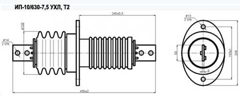 Изоляторы проходного типа ИП-10/630-7,5 УХЛ, Т2