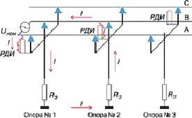 Схема установки длинноискровых петлевых разрядников РДИП-10